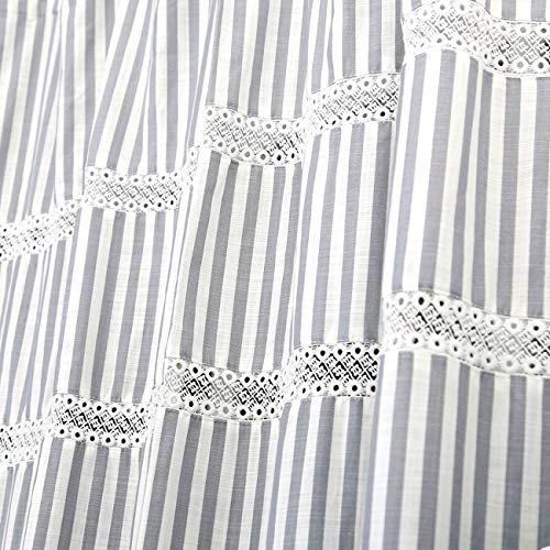 Fabric Shower Curtain Eastern Heavy Duty Cotton Bathroom Shower Curtains With Lace Trims And Ruffled Bottom For Spa Hotel Luxury Stripe Decorative Shower Curtains 72 X 72 Inches White Gray 0 1