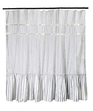 Fabric Shower Curtain Eastern Heavy Duty Cotton Bathroom Shower Curtains With Lace Trims And Ruffled Bottom For Spa Hotel Luxury Stripe Decorative Shower Curtains 72 X 72 Inches White Gray 0 2 300x360
