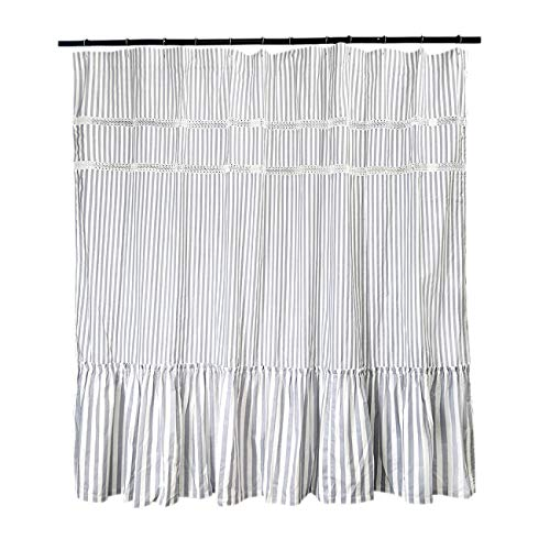 Fabric Shower Curtain Eastern Heavy Duty Cotton Bathroom Shower Curtains With Lace Trims And Ruffled Bottom For Spa Hotel Luxury Stripe Decorative Shower Curtains 72 X 72 Inches White Gray 0 2