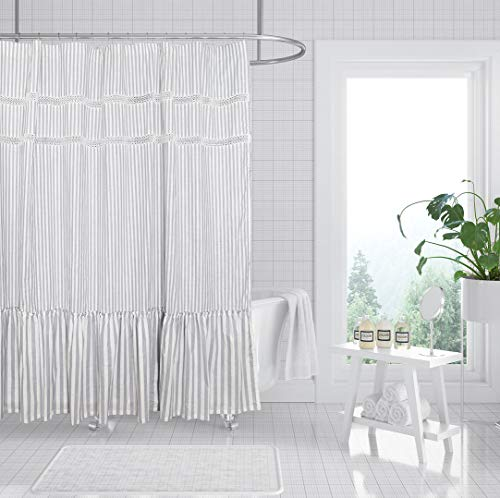 Fabric Shower Curtain Eastern Heavy Duty Cotton Bathroom Shower Curtains With Lace Trims And Ruffled Bottom For Spa Hotel Luxury Stripe Decorative Shower Curtains 72 X 72 Inches White Gray 0
