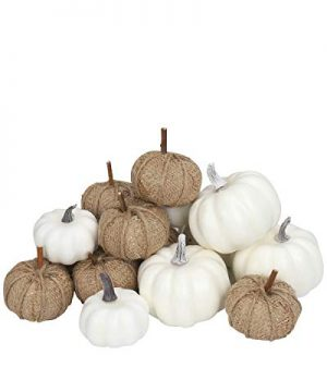 Fabric And White Pumpkins Assorted Size 16PCS White Pumpkins And Burlap Pumpkins For Rustic Fall Decor Fabric Pumpkins Perfect For Halloween Thanksgiving Decoration Fall Wedding 0 300x360