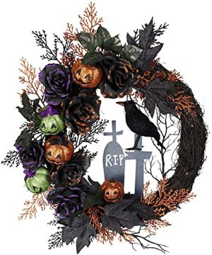 Fairy Crystal 24 Inch Halloween Wreath With Ghost Face Pumpkin Gravestone Crow Maple Leaf And Black Rose For Home Decor Farmhouse Indoor Outdoor Door Window Halloween Decoration 0 300x360