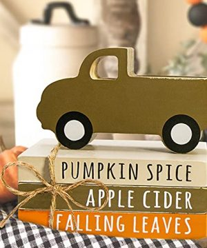 Fall Decor Fall Decorations For Home Tiered Tray Decor 3 Mini Faux Decorative Books Bundle With Twine Pumpkin Wooden Truck Farmhouse Rustic Decor For Autumn Thanksgiving Harvest Table Shelf 0 300x360