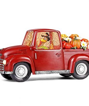 Fall Lighted Water Lantern Turkey In Vintage Red Truck With Pumpkins For Fall Harvest Day Decor Thanksgiving Snow Globe With Swirling Glitter 0 300x360
