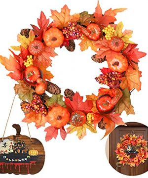 Fall Wreath For Front Door 18 Inch Harvest Autumn Wreath With Pumpkins Hanging Wooden Sign For Home Decor Outdoor Farmhouse Halloween Thanksgiving Decoration 0 300x360