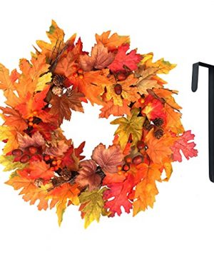 Fall Wreaths For Front Door Outside Fall Decor Year Round For Porch Bedroom Mantle Farmhouse Bridal Shower Halloween Harvest Decorations Outdoor 20 Fall Leaves Garland With Black Metal Door Hanger 0 300x360