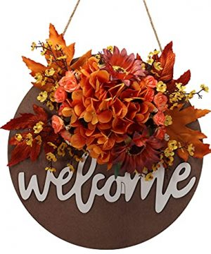 Fall Wreaths For Front DoorFall Welcome Sign For Front DoorFall Door DecorNordic Rustic Style Retro Wooden Hanging Welcome SignFall Wreaths For Front Door Used For Home Front Door Decoration 101 0 300x360