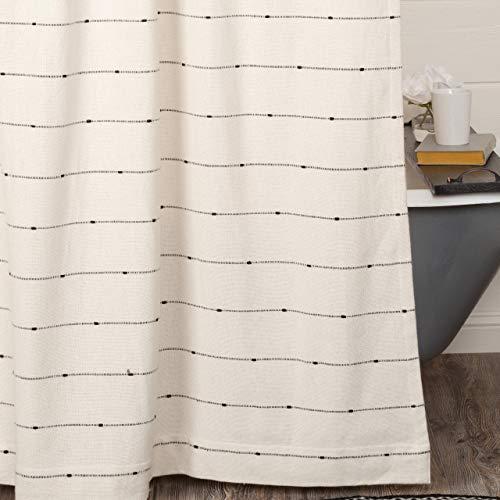 Farmcloth Stripe Shower Curtain 72 X 72 Urban Rustic Farmhouse Bathroom Decor Natural Cream Woven W Black Stripes 0 0