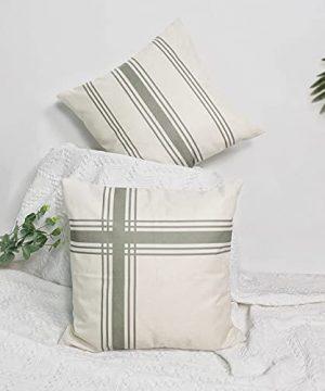 Farmhouse Ticking Striped Pillow Covers 18x18 Set Of 2 Farmhouse Neutral Decorative Throw Pillow Covers For Home Decor Sage GreenCream 0 300x360