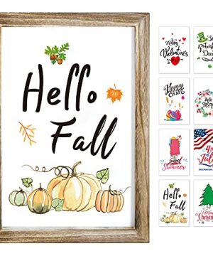 Farmhouse Wall Decor Signs With 8 Interchangeable Seasonal Sayings For Home Decor Signs Fall Decorations For Homefall Home Decor Easy To Hang 11x16 Rustic Wood Picture Frame With 8 Designs 0 300x360