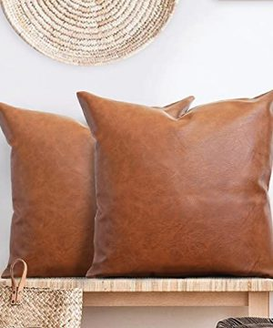 Faux Leather Pillow Cover Set Of 2 20 X 20 Brown Throw Pillow Case Modern Boho Farmhouse Decorative Covers Only For Bed Or Sofa 0 300x360