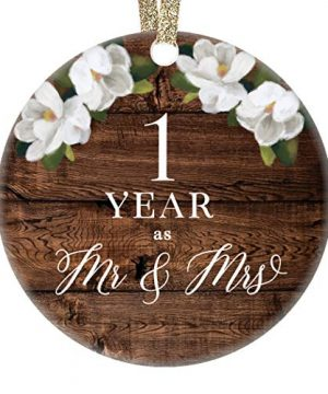 First 1st Wedding Anniversary Christmas Tree Ornament One Year Together Husband Wife Married Couple Pretty Rustic Ceramic Collectible Kee 0 300x360