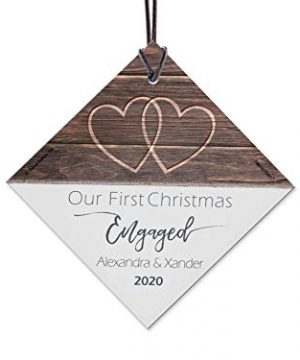 First Christmas Engaged Fused Glass Ornament Personalized Rustic Double Hearts Farmhouse Christmas Tree Date Display 35 Square Diamond Free Red Velveteen Gift Bag 0 300x360