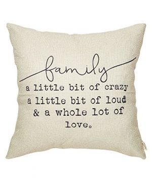 Fjfz Family A Little Bit Of Crazy A Little Bit Of Loud And A Whole Lot Of Love Rustic Decoration Farmhouse Decor Cotton Linen Home Decorative Throw Pillow Case Cushion Cover For Sofa Couch 18 X 18 0 300x360