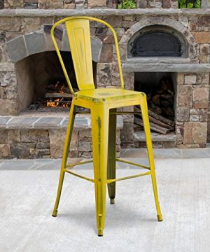 Flash Furniture Commercial Grade 30 High Distressed Yellow Metal Indoor Outdoor Barstool With Back 0 300x360