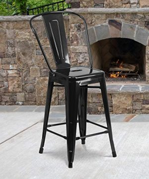 Flash Furniture Commercial Grade 4 Pack 24 High Black Metal Indoor Outdoor Counter Height Stool With Removable Back 0 300x360