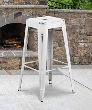 Flash Furniture Commercial Grade 4 Pack 30 High Backless Distressed White Metal Indoor Outdoor Barstool 0 300x360