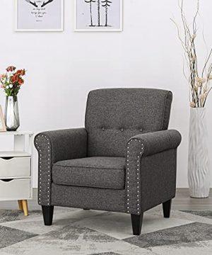Flexpedic Linen Upholstered Foam Modern Sofa Comfortable Armchair For Bedroom Living Room Or Office Grey SKL 021 0 300x360