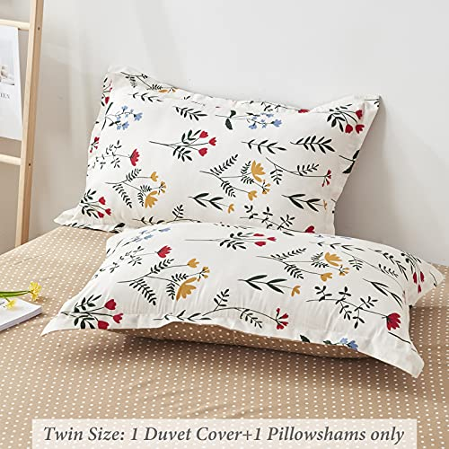 Floral Duvet Cover Set Twin Size2 Pieces Ultra Soft MicrofiberOff White Botanic Flower 1 Duvet Cover With Zipper Closure And 1 Pillow Sham Single 66x90 0 0