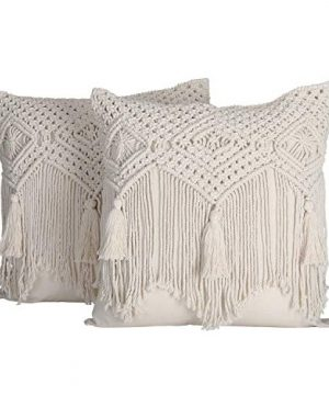 Folkulture Boho Throw Pillow Covers 18x18 Macrame Pillow Covers Modern Farmhouse Bohemian Pillow Covers For Bed Couch Or Sofa Set Of 2 With Tassels Natural Ivory 0 300x360