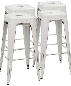 Furmax 30 Inches Metal Bar Stools High Backless Stools Indoor Outdoor Stackable Stools Set Of 4 Distressed White 0 300x360