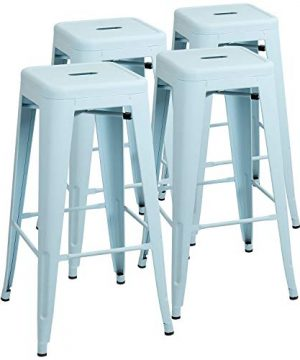 Furniwell 30 Inches Metal Bar Stools High Backless Tolix Indoor Outdoor Stackable Barstool With Square Counter Seat Set Of 4 Blue 0 300x360