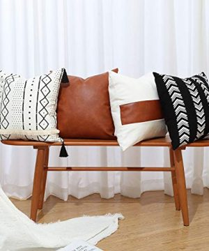 GALMAXS7 Boho Throw Pillow Covers 18 X 18 Set Of 4 Modern Stripe Geometric Farmhouse Decorative Pillow Cover Sets For Pillows Couch Sofa BedFaux Leather Black And White Pillow Covers 0 300x360