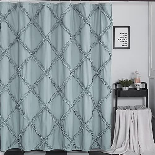 GARSTYLE Light Blue Grey Ruffle Diamond Fabric Shower Curtain For Bathroom Farmhouse Rustic Style 72x72 0 0