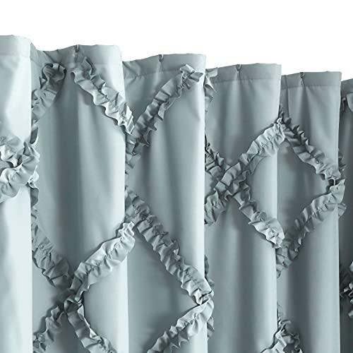 GARSTYLE Light Blue Grey Ruffle Diamond Fabric Shower Curtain For Bathroom Farmhouse Rustic Style 72x72 0 1
