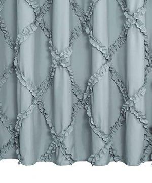 GARSTYLE Light Blue Grey Ruffle Diamond Fabric Shower Curtain For Bathroom Farmhouse Rustic Style 72x72 0 2 300x360