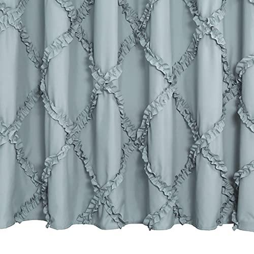 GARSTYLE Light Blue Grey Ruffle Diamond Fabric Shower Curtain For Bathroom Farmhouse Rustic Style 72x72 0 2