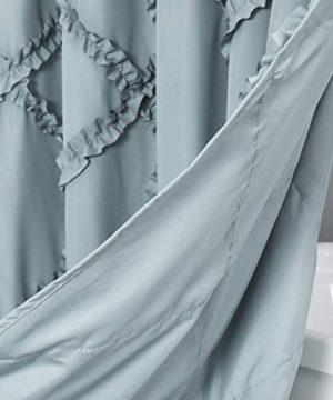 GARSTYLE Light Blue Grey Ruffle Diamond Fabric Shower Curtain For Bathroom Farmhouse Rustic Style 72x72 0 3 300x360