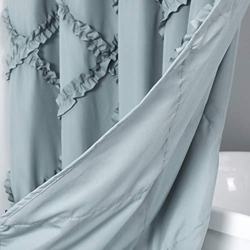 GARSTYLE Light Blue Grey Ruffle Diamond Fabric Shower Curtain For Bathroom Farmhouse Rustic Style 72x72 0 3