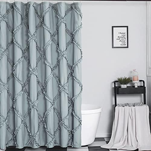 GARSTYLE Light Blue Grey Ruffle Diamond Fabric Shower Curtain For Bathroom Farmhouse Rustic Style 72x72 0