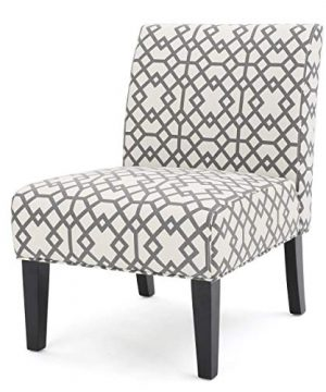 GDF Studio Kendal Grey Geometric Patterned Fabric Accent Chair 0 300x360