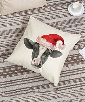 GTEXT Christmas Throw Pillow Cover Holiday Decor Farmhouse Cow Pillow Cover Cuhion Cover Case For Couch Sofa Home Decoration Pillows Linen 18 X 18 Inches 0 0 300x360