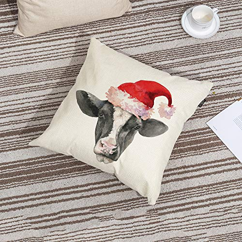 GTEXT Christmas Throw Pillow Cover Holiday Decor Farmhouse Cow Pillow Cover Cuhion Cover Case For Couch Sofa Home Decoration Pillows Linen 18 X 18 Inches 0 0