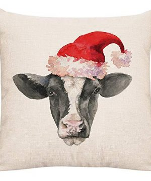 GTEXT Christmas Throw Pillow Cover Holiday Decor Farmhouse Cow Pillow Cover Cuhion Cover Case For Couch Sofa Home Decoration Pillows Linen 18 X 18 Inches 0 300x360
