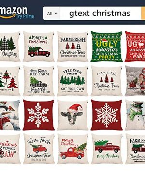 GTEXT Christmas Throw Pillow Cover Holiday Decor Farmhouse Cow Pillow Cover Cuhion Cover Case For Couch Sofa Home Decoration Pillows Linen 18 X 18 Inches 0 4 300x360
