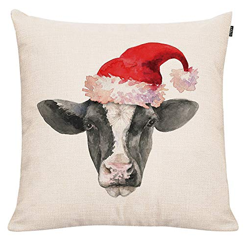 GTEXT Christmas Throw Pillow Cover Holiday Decor Farmhouse Cow Pillow Cover Cuhion Cover Case For Couch Sofa Home Decoration Pillows Linen 18 X 18 Inches 0