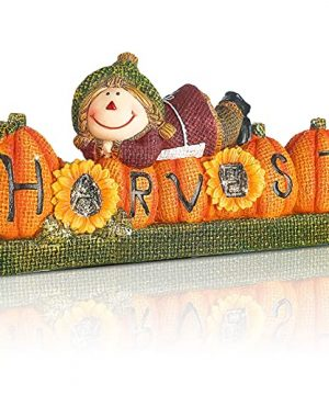 Geelin Cute Scarecrow Fall Decorations Happy Harvest Scarecrow Decor Scarecrow Pumpkin Harvest Figurines Autumn Welcome Scarecrow Decor Fall Tiered Tray Decor For Home Table Harvest 8 X 45 Inch 0 300x360