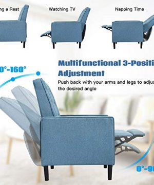 Giantex Set Of 2 Push Back Recliner Chair Modern Fabric Recliner WButton Tufted Back Accent Arm Chair For Living Room Bedroom Home Office Blue 0 0 300x360