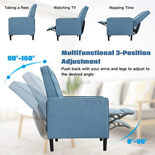 Giantex Set Of 2 Push Back Recliner Chair Modern Fabric Recliner WButton Tufted Back Accent Arm Chair For Living Room Bedroom Home Office Blue 0 0