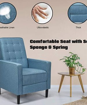 Giantex Set Of 2 Push Back Recliner Chair Modern Fabric Recliner WButton Tufted Back Accent Arm Chair For Living Room Bedroom Home Office Blue 0 1 300x360