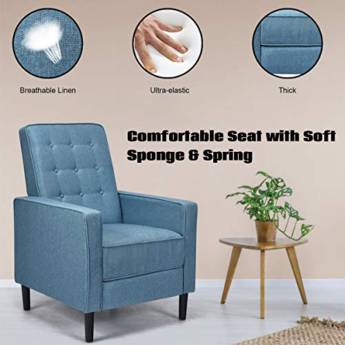 Giantex Set Of 2 Push Back Recliner Chair Modern Fabric Recliner WButton Tufted Back Accent Arm Chair For Living Room Bedroom Home Office Blue 0 1