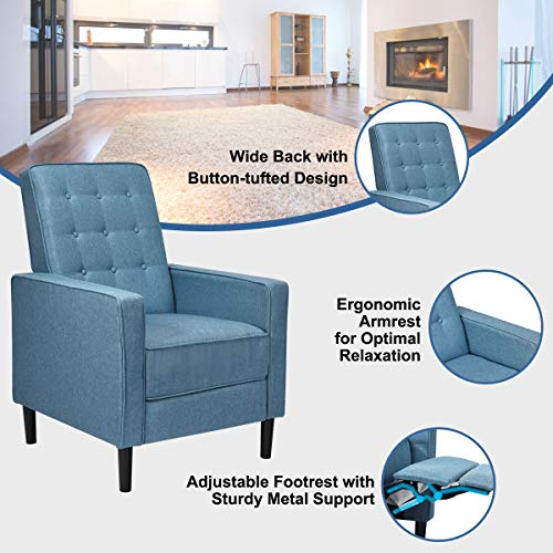 Giantex Set Of 2 Push Back Recliner Chair Modern Fabric Recliner WButton Tufted Back Accent Arm Chair For Living Room Bedroom Home Office Blue 0 2