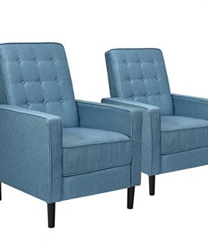Giantex Set Of 2 Push Back Recliner Chair Modern Fabric Recliner WButton Tufted Back Accent Arm Chair For Living Room Bedroom Home Office Blue 0 300x360