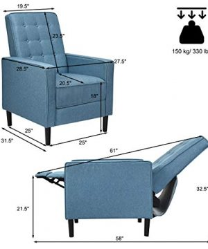 Giantex Set Of 2 Push Back Recliner Chair Modern Fabric Recliner WButton Tufted Back Accent Arm Chair For Living Room Bedroom Home Office Blue 0 4 300x360
