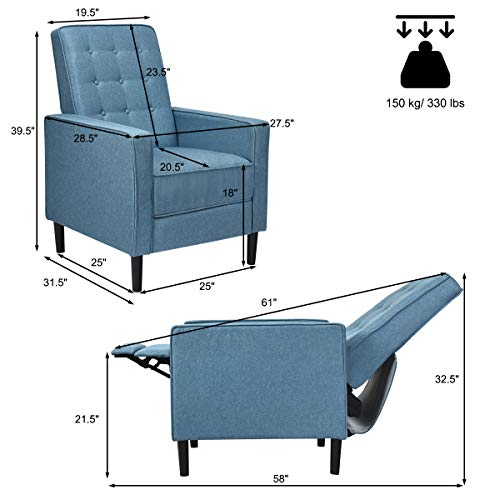 Giantex Set Of 2 Push Back Recliner Chair Modern Fabric Recliner WButton Tufted Back Accent Arm Chair For Living Room Bedroom Home Office Blue 0 4