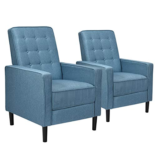 Giantex Set Of 2 Push Back Recliner Chair Modern Fabric Recliner WButton Tufted Back Accent Arm Chair For Living Room Bedroom Home Office Blue 0